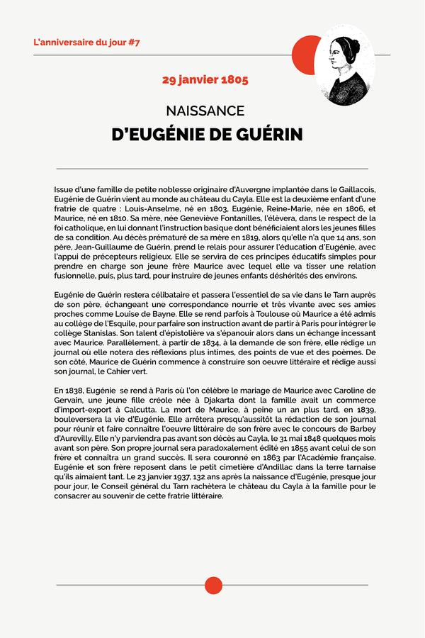 Naissance d'Eugénie de Guerin