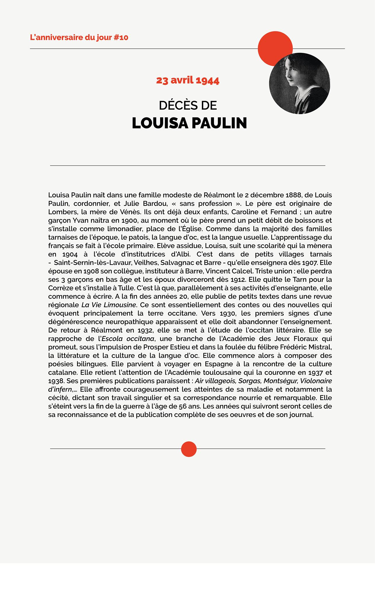 Décès de Louisa Paulin