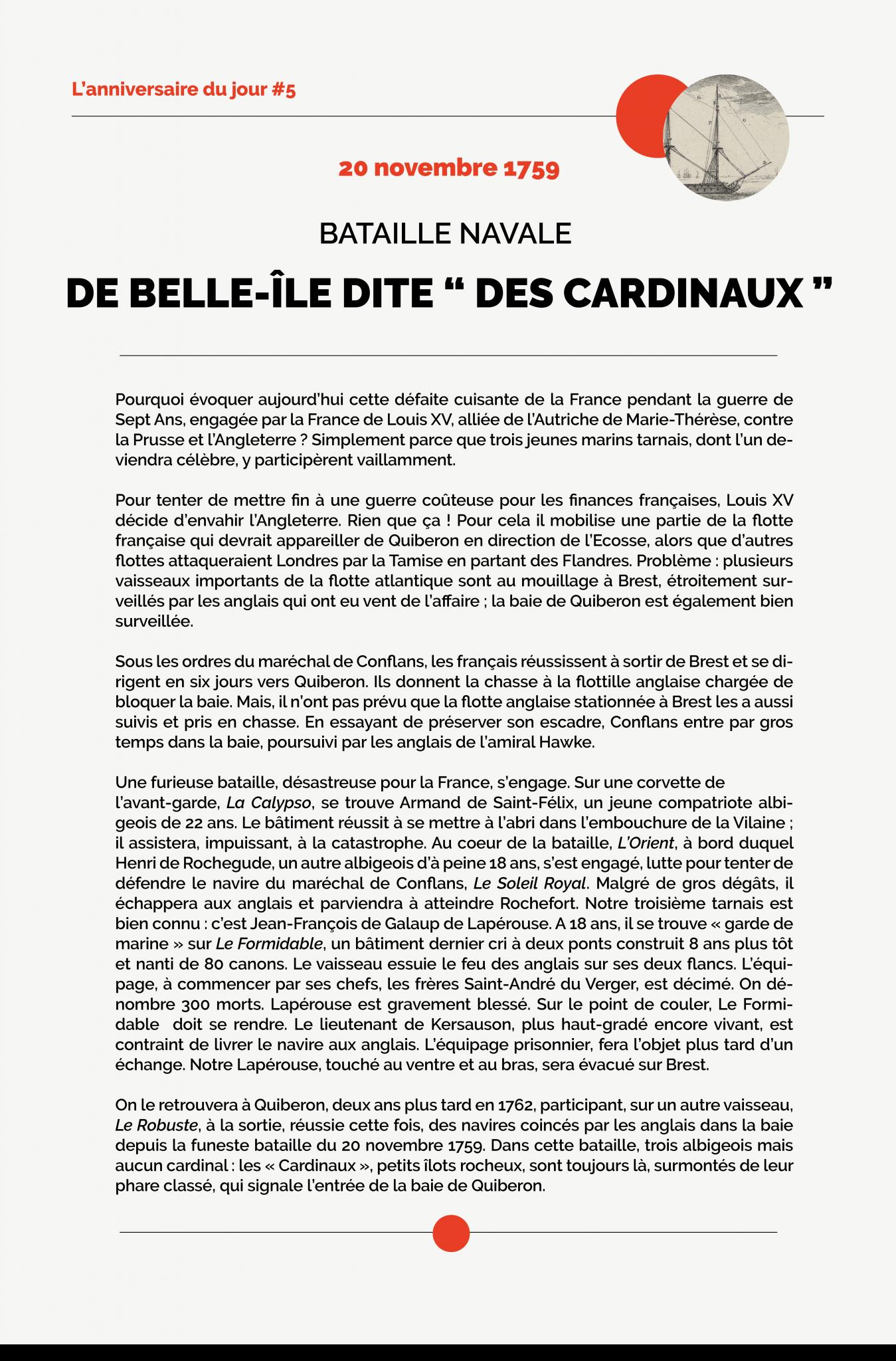 L'anniversaire du jour #5 - Bataille Navale de Belle-Ile dite