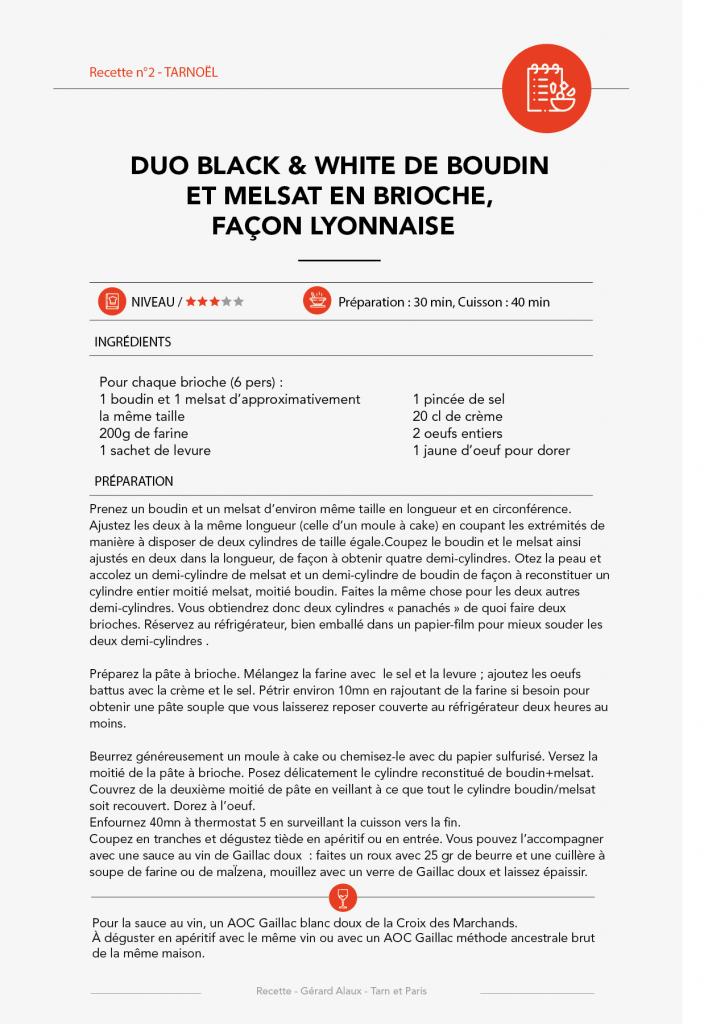 Recette n°5 - Duo Black & White de Boudin et Melsat en Brioche, Façon Lyonnaise
