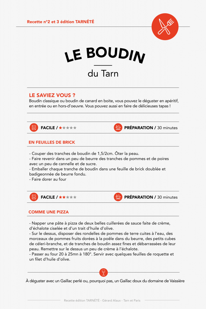 Le Boudin - Recette n°2 et 3