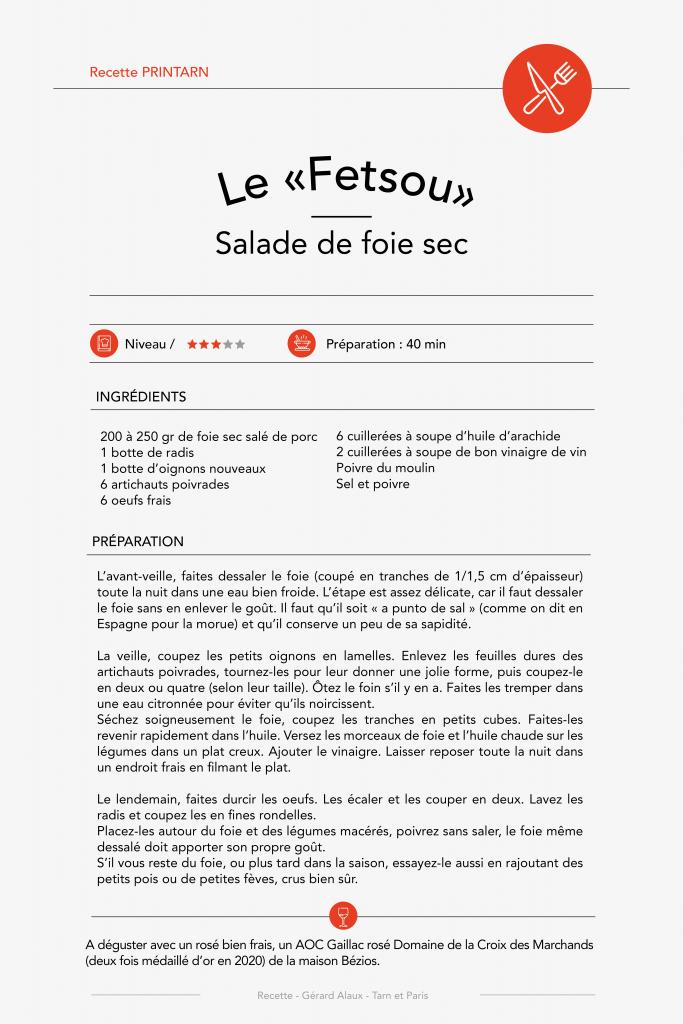 """Recette n°6 - Le """"Fetsous"""" Salade de foie sec"""